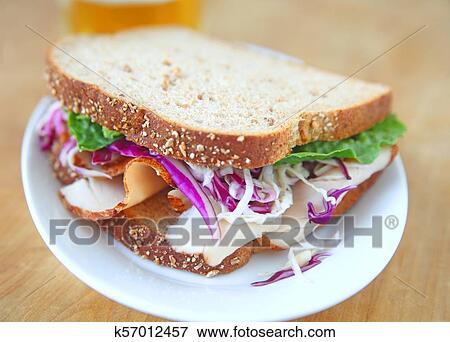 Picture Of Turkey Sandwich On Wheat Bread K57012457 Search Stock