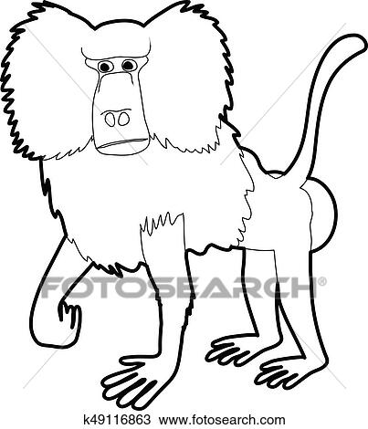 Clipart Of Baboon Icon Outline K49116863