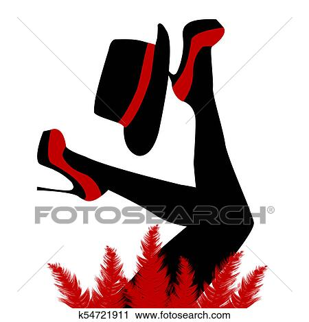clipart of beautiful cabaret dancer with red shoes and hat k54721911 rh fotosearch com Reading Clip Art Theatre Clip Art