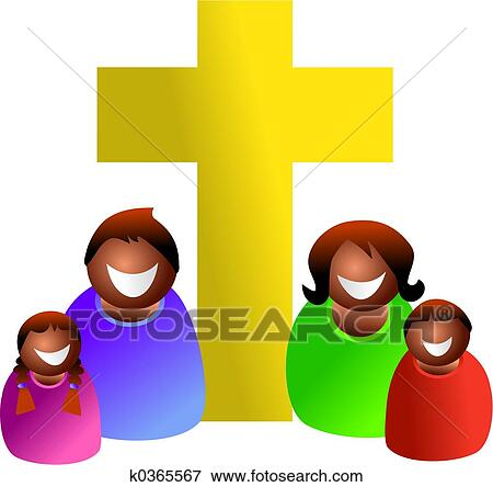 stock illustration of christian family k0365567 search eps clipart rh fotosearch com We Are Family Clip Art Nativity Clip Art