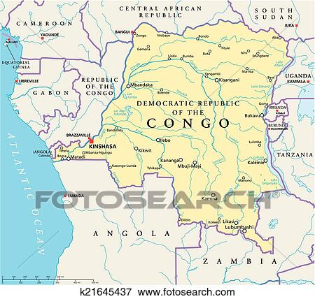 Congo Kinshasa Map Africa.Congo Democratic Republic Political Map Clip Art K21645437