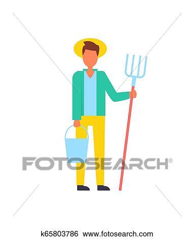 Farmer Man Lives in Rural Area Vector Illustration Clip ...