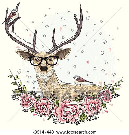 1ab18ce0bbe Clip Art of hipster deer with glasses k33147448 - Search Clipart ...