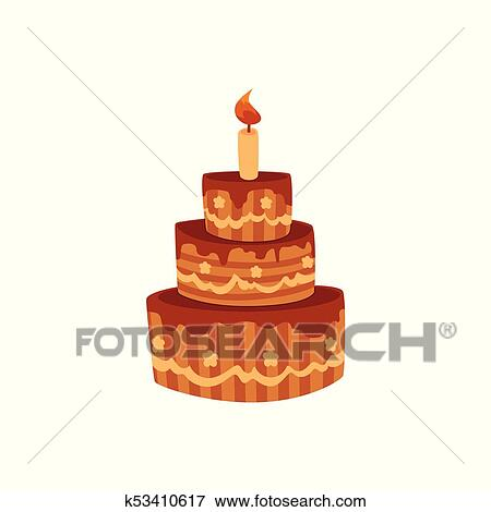 Marvelous Tier Birthday Cake With Chocolate Icing And Candle Clip Art Funny Birthday Cards Online Elaedamsfinfo