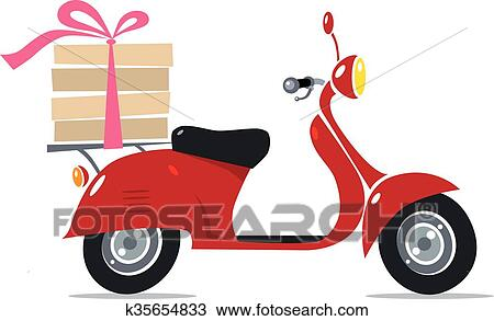 clipart of funny red scooter with pizza pizza delivery k35654833