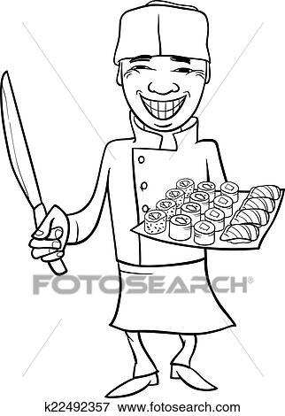 Black And White Cartoon Illustration Of Funny Japan Sushi Chef For Coloring Book