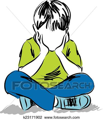 clipart of little boy thinking illustration k23171902 search clip rh fotosearch com  little boy thinking clipart