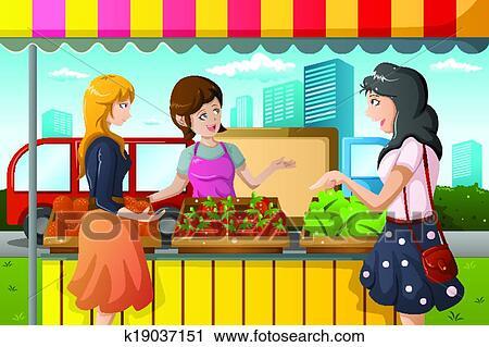 clipart of people shopping in farmers market k19037151 search clip rh fotosearch com farmers market clipart flea market clipart