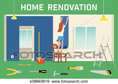 clip art of room repair in home interior renovation in apartment