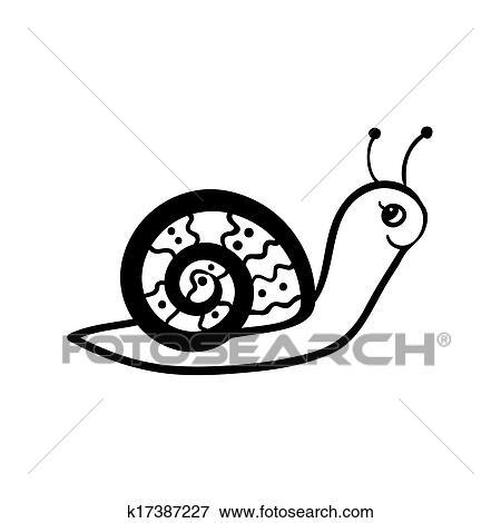 Clip Art Schnecke Madchen Skizze K17387227 Suche Clipart