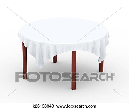 Drawing Of 3d Cloth On Round Table K26138843 Search Clipart