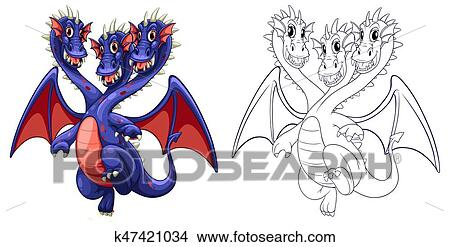 Animal outline for three headed dragon Clipart | k47421034 ...Three Headed Animal Drawing