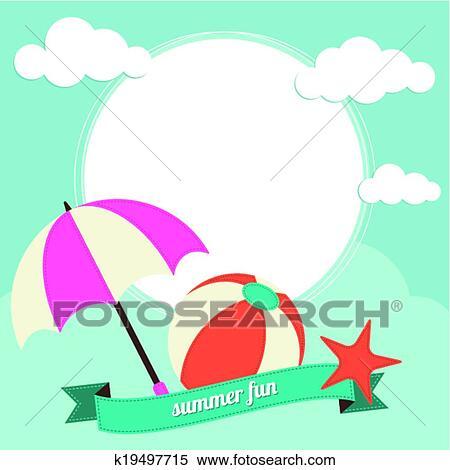 Clipart Of Beach Ball And Sun Umbrella Activit K19497715 Search