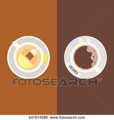 Cafe Creamer Pacote E Cubos Acucar Cha Com Saco Cha E