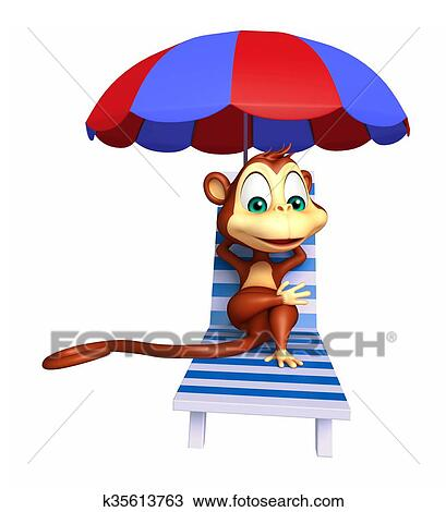 drawing of cute monkey cartoon character with beach chair k35613763