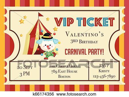 Cute Ticket Carnival Theme Birthday Invitation Clip Art
