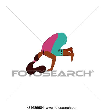 cute woman standing in crow pose or bakasana young woman
