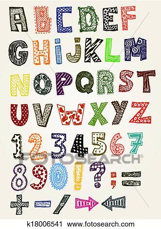 Doodle Fancy ABC Alphabet Clipart