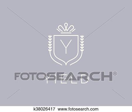 Clip Art Of Elegant Monogram Letter Y Logotype Premium Crest Logo