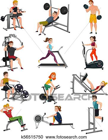 Exercise Equipment With People Set Clipart K56515750 Fotosearch