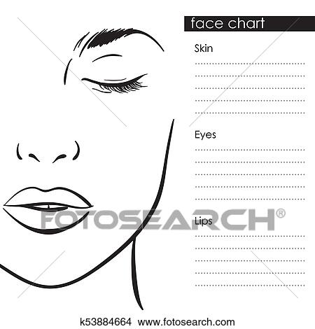 Clipart of face chart makeup template beautiful woman portrait face chart makeup artist blank template vector illustration maxwellsz