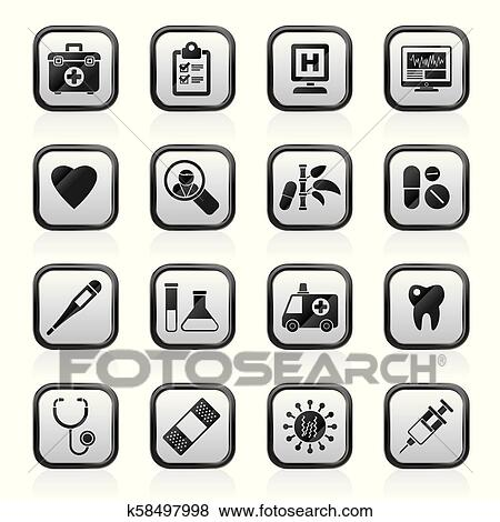 Clip Art Of Hospital Medical And Healthcare Icons K58497998
