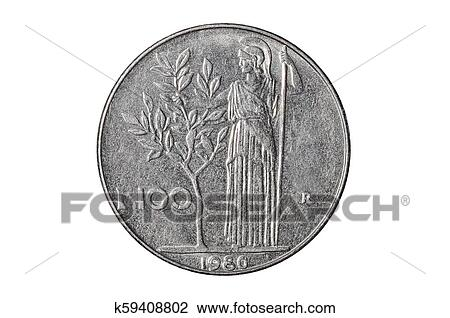 Hundred Italian Lira Coin Close Up From 1980s Italy Tail Side With Minerva Roman Dess Of War Isolated On White Studio Background