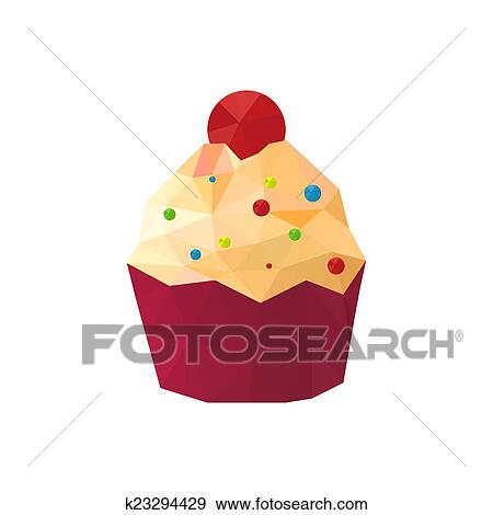 Clip Art Of Illustration Of Origami Cupcake With Sprinkles K23294429
