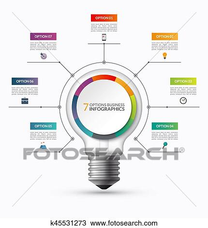 clipart of lightbulb infographic template with 7 options creative