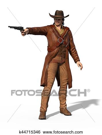 3c1959d5e18 Stock Image - Old West Gunslinger Outlaw. Fotosearch - Search Stock  Photography