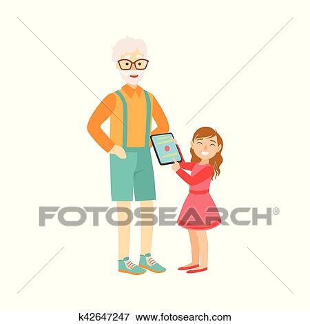 Petite Fille Projection Grand Père Tablette Partie Grand Père Et Petit Enfant Temps Passager Ensemble Ensemble De Illustrations Clipart