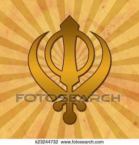 Clip Art Of Sikh Symbol Grunge Background K23244732 Search Clipart