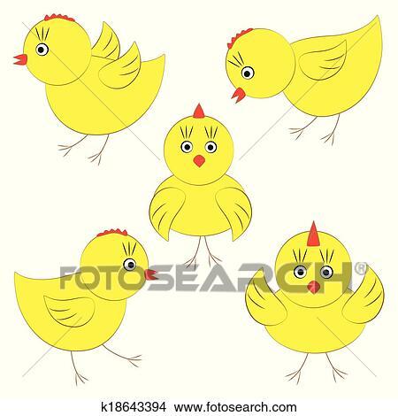 かわいい 黄色 ひよこ クリップアート切り張りイラスト絵画集