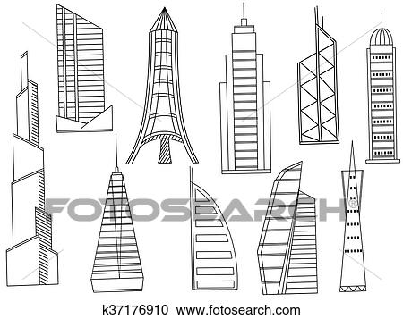 Clipart - alto, edificios, libro colorear, vector k37176910 - Buscar ...