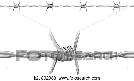 Clipart of Barbed wire k27892983 - Search Clip Art, Illustration ...