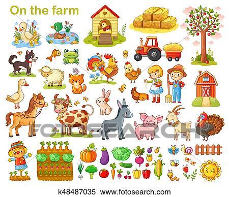 Clipart Bauernhof Satz Mit Animals K48487035 Suche Clip Art