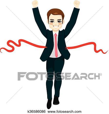 clip art of businessman success winner concept k36586086 search rh fotosearch com busy businessman clipart businessman clipart gif