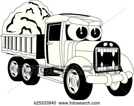 Clipart Of Cartoon Lorry Car K25533940