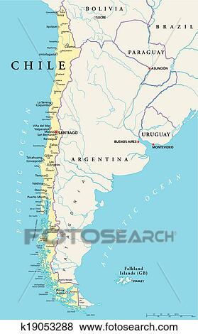 Clip Art Of Chile Political Map K19053288 Search Clipart