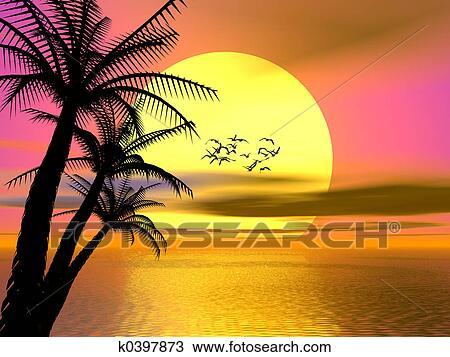 Dessin color exotique coucher soleil levers de - Dessin coucher de soleil ...