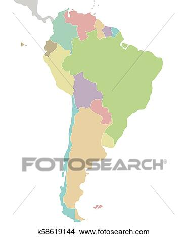 Politisch Leer Sudamerika Landkarte Vektor Abbildung