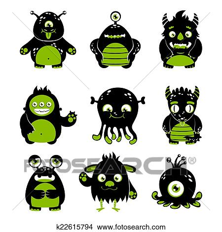Clipart Of Cute Monsters Set K22615794 Search Clip Art