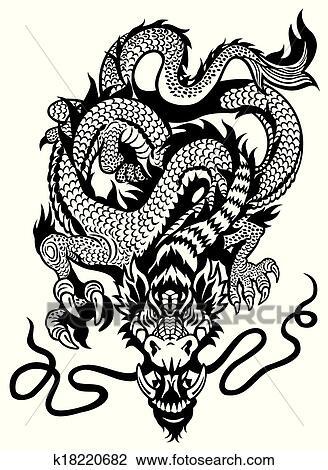 clipart - dragon, tatouage, noir, blanc k18220682 - recherchez des
