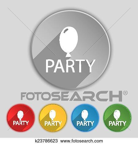 Clipart - fiesta, señal, icon., cumpleaños, aire, globo, con, soga ...
