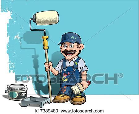 Handyman Wall Painter Blue Uniform Clipart