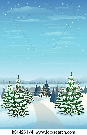 Hiver Forêt Paysage Noël Fond Pin Neige Arbres Clipart