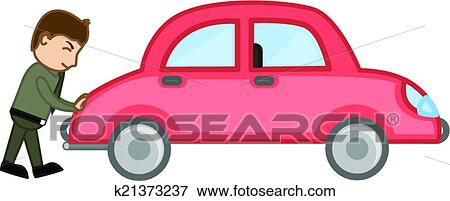 clip art of man pushing car vector k21373237 search clipart