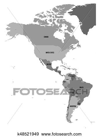 Political map of Americas in four shades of grey on white ...