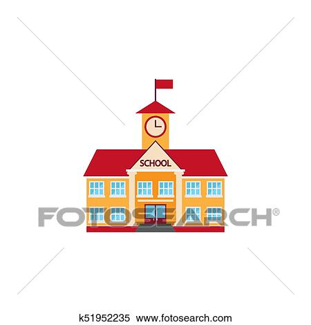 School building icon vector, solid logo, colorful pictogram isol Clipart