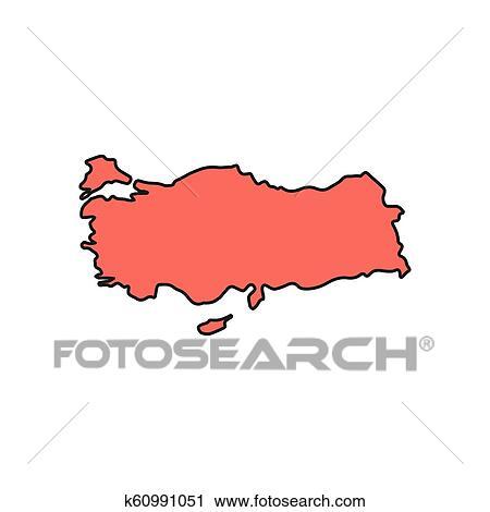 Turkey map icon, cartoon style Clipart